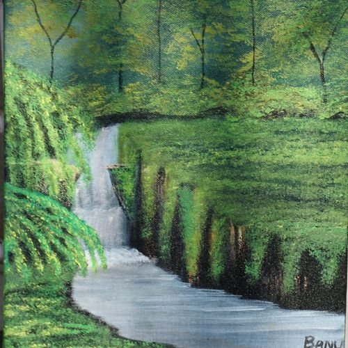 enchanted woods, 12 x 16 inch, harshita bisht (banu),landscape paintings,paintings for living room,canvas,acrylic color,12x16inch,GAL04851181