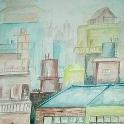 a city view, 12 x 17 inch, salman  saifi,landscape paintings,paper,watercolor,12x17inch,GAL0488911902