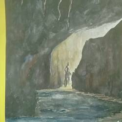 cave, 12 x 17 inch, salman  saifi,paintings,landscape paintings,paper,watercolor,12x17inch,GAL0488911905