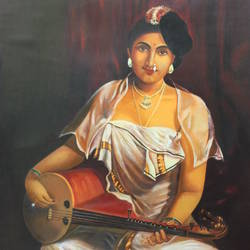 ravivarma  a girl with veenai, 23 x 27 inch, dhana lakshmi n,portrait paintings,paintings for living room,paintings for office,paintings for hotel,paintings for living room,paintings for office,paintings for hotel,thick paper,acrylic color,23x27inch,GAL0496111906