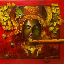 meera ke krishna , 60 x 33 inch, arjun das,paintings,religious paintings,paintings for living room,paintings for hotel,canvas,acrylic color,60x33inch,GAL011211908