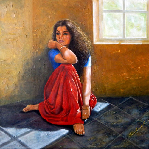 waiting for some one, 30 x 26 inch, sandeep rawal ,figurative paintings,paintings for dining room,paintings for living room,paintings for bedroom,paintings for office,paintings for hotel,paintings for dining room,paintings for living room,paintings for bedroom,paintings for office,paintings for hotel,canvas,oil,30x26inch,GAL0251111909