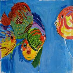 the aquarium fishes, 13 x 10 inch, abhik mahanti,paintings,still life paintings,canvas,acrylic color,13x10inch,GAL0404411910