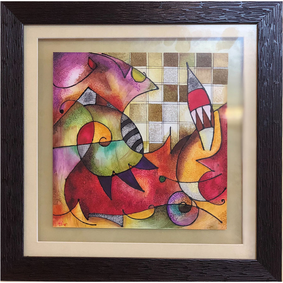 the conflict, 8 x 8 inch, tithy agrawal,abstract paintings,paintings for living room,thick paper,ink color,watercolor,8x8inch,GAL0497211913