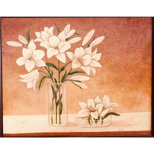 white flowers, 15 x 12 inch, tithy agrawal,flower paintings,paintings for dining room,paintings for living room,paintings for bedroom,paintings for office,paintings for bathroom,canvas,oil,15x12inch,GAL0497211915