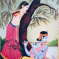 radha krishna, 20 x 30 inch, tithy agrawal,religious paintings,illustration paintings,radha krishna paintings,paintings for dining room,paintings for living room,paintings for bedroom,paintings for office,paintings for hotel,paintings for kitchen,canvas,oil paint,20x30inch,GAL0497211918