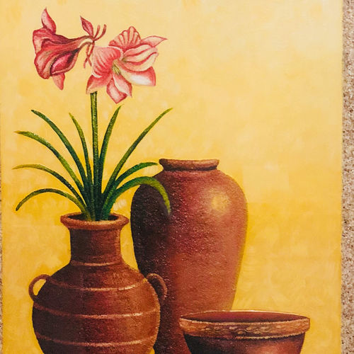 earthen pots, 16 x 20 inch, tithy agrawal,flower paintings,paintings for dining room,paintings for living room,paintings for office,paintings for kids room,paintings for kitchen,canvas,oil paint,sand,16x20inch,GAL0497211922