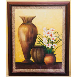 flower pot, 16 x 20 inch, tithy agrawal,flower paintings,paintings for dining room,paintings for living room,paintings for bedroom,paintings for office,paintings for hotel,paintings for kitchen,canvas,oil paint,sand,16x20inch,GAL0497211923