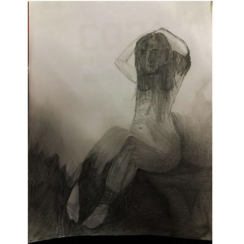 about a girl, 8 x 12 inch, sharad khandelwal,figurative drawings,paintings for dining room,paintings for living room,paintings for bedroom,paintings for office,paintings for bathroom,paintings for kids room,paintings for kitchen,paper,graphite pencil,8x12inch,GAL0492311925