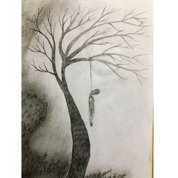 hang till death, 8 x 12 inch, sharad khandelwal,paintings for dining room,paintings for living room,paintings for bedroom,figurative drawings,paintings for dining room,paintings for living room,paintings for bedroom,paper,graphite pencil,8x12inch,GAL0492311926