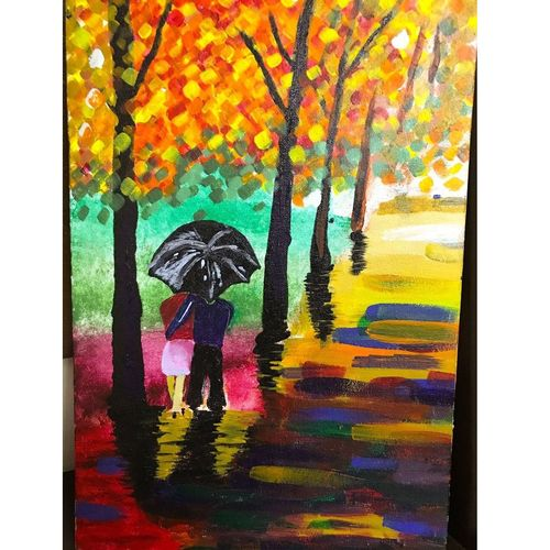 couple in rain, 12 x 18 inch, sharad khandelwal,abstract paintings,paintings for dining room,paintings for living room,paintings for bedroom,paintings for office,paintings for hotel,canvas,acrylic color,12x18inch,GAL0492311929
