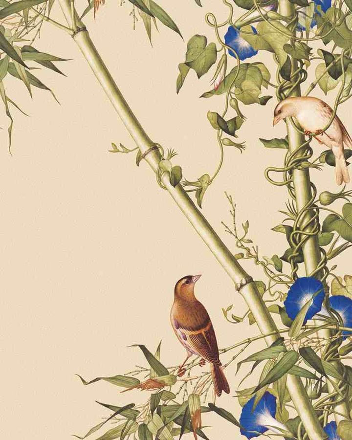 Glossy blue flower with brown bird