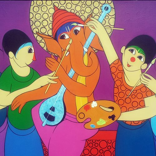 king of ganesha, 36 x 24 inch, dnyaneshwar  bembade ,figurative paintings,religious paintings,paintings for living room,paintings for office,ganesha paintings,canvas,acrylic color,36x24inch,GAL04641195,vinayak,ekadanta,ganpati,lambodar,peace,devotion,religious,lord ganesha,lordganpati