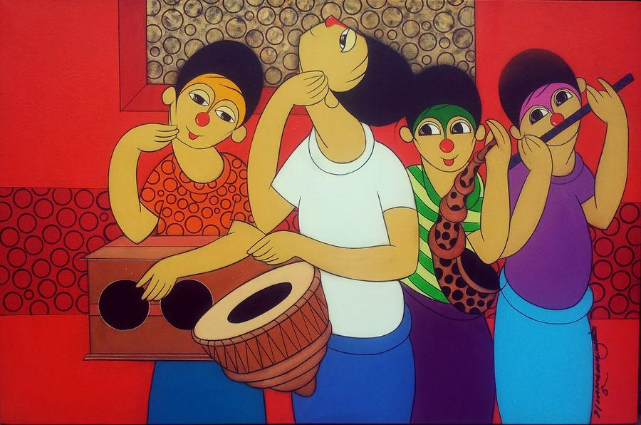 musical journey, 36 x 24 inch, dnyaneshwar  bembade ,figurative paintings,paintings for living room,paintings for office,canvas,acrylic color,36x24inch,GAL04641196