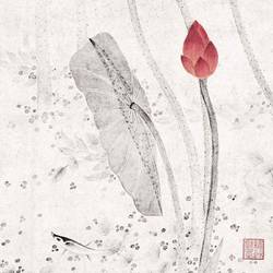 White leaf with small red flower  art print by Gallerist