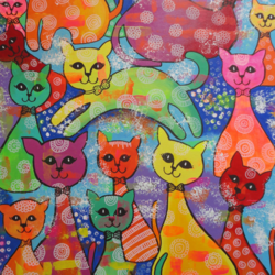 the happy cat family , 26 x 36 inch, amita dand,paintings,street art,animal paintings,paintings for dining room,paintings for living room,paintings for kids room,paintings for hotel,canvas,acrylic color,26x36inch,GAL0146711969