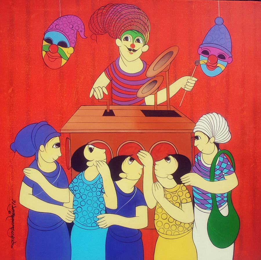 childhood fun 2, 36 x 36 inch, dnyaneshwar  bembade ,figurative paintings,paintings for living room,paintings for bedroom,paintings for office,canvas,acrylic color,36x36inch,GAL04641197