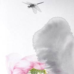 Small fly with pink flower  art print by Gallerist
