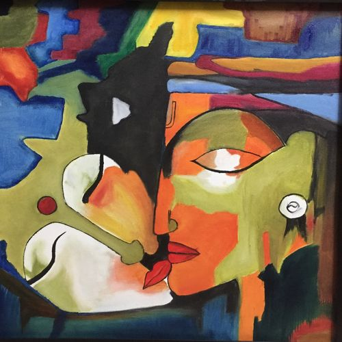 radha krishna, 26 x 25 inch, allamuneni karthik,paintings,abstract paintings,paintings for living room,paintings for bedroom,canvas,oil,26x25inch,GAL0498511976