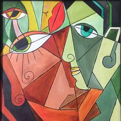 multi face, 25 x 24 inch, allamuneni karthik,cubist paintings,paintings for office,paintings for office,canvas,oil,25x24inch,GAL0498511977