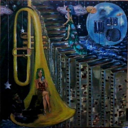 musical life, 24 x 24 inch, kalpana  tambe,conceptual paintings,paintings for living room,canvas,acrylic color,24x24inch,GAL0247411979