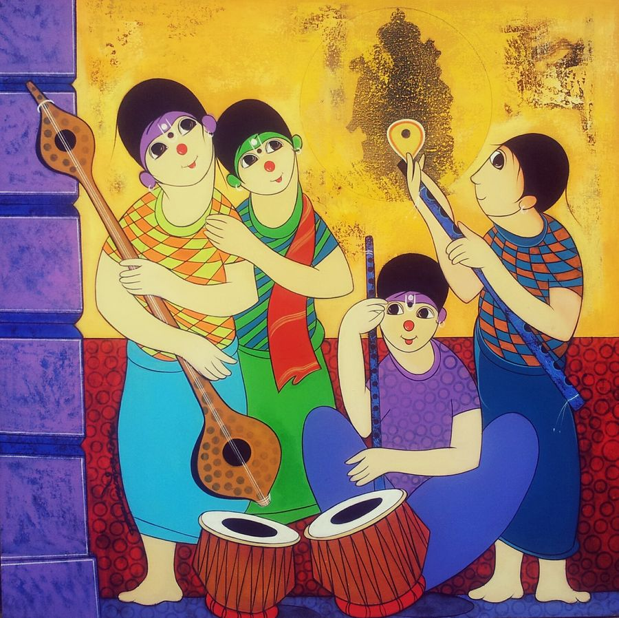 nadbramha - music of god, 36 x 36 inch, dnyaneshwar  bembade ,figurative paintings,paintings for dining room,paintings for living room,paintings for bedroom,paintings for office,canvas,acrylic color,36x36inch,GAL04641198