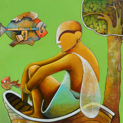 thinker, 36 x 48 inch, anupam  pal,figurative paintings,modern art paintings,conceptual paintings,paintings for dining room,paintings for living room,paintings for bedroom,paintings for office,paintings for bathroom,paintings for kids room,paintings for hotel,paintings for kitchen,canvas,mixed media,36x48inch,GAL08212000