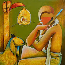 thinker 2, 30 x 36 inch, anupam  pal,paintings,figurative paintings,paintings for dining room,paintings for living room,paintings for bedroom,paintings for office,paintings for bathroom,paintings for kids room,paintings for hotel,paintings for kitchen,canvas,acrylic color,30x36inch,GAL08212001
