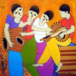 musical man, 36 x 36 inch, dnyaneshwar  bembade ,figurative paintings,paintings for living room,paintings for bedroom,paintings for office,canvas,acrylic color,36x36inch,GAL04641201