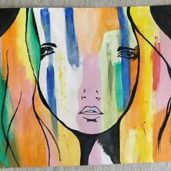 the lady, 4 x 3 inch, akshay patil,paintings,abstract paintings,thick paper,watercolor,4x3inch,GAL0370412010