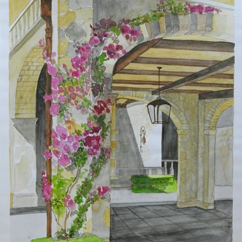 italian house entrance with bougainville plant in sun, 10 x 12 inch, lalit  r,cityscape paintings,paintings for dining room,paintings for living room,paintings for dining room,paintings for living room,thick paper,watercolor,10x12inch,GAL0482812026