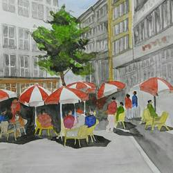 a busy street restaurant on a sunny afternoon, 10 x 13 inch, lalit  r,landscape paintings,paintings for living room,paintings for office,paintings for kitchen,paintings for living room,paintings for office,paintings for kitchen,thick paper,watercolor,10x13inch,GAL0482812027