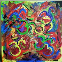 omkara, 12 x 12 inch, mehul dave,abstract paintings,religious paintings,canvas,acrylic color,12x12inch,GAL0501312033