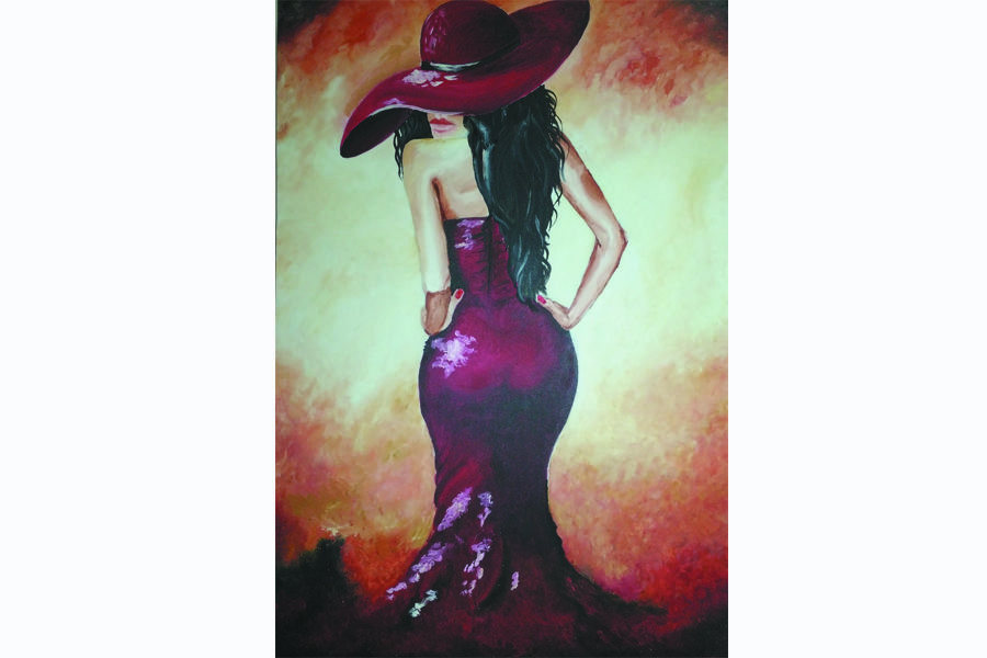 lady in red, 24 x 35 inch, ritika chaudhary,contemporary paintings,canvas,oil paint,24x35inch,GAL0497312044