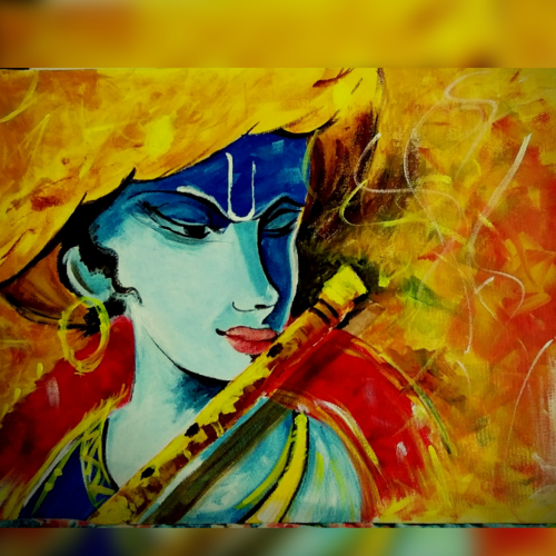 krishna abstract, 18 x 24 inch, yashasvi kuchhal,paintings,abstract expressionist paintings,radha krishna paintings,paintings for dining room,paintings for living room,paintings for office,paintings for dining room,paintings for living room,paintings for office,canvas,acrylic color,18x24inch,GAL0503712047,lordkrishna,krishna,flute,love,music,hindu,krishna love
