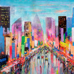 coulorful city of joy, 23 x 21 inch, sandeep rawal ,cityscape paintings,conceptual paintings,street art,contemporary paintings,paintings for dining room,paintings for living room,paintings for bedroom,paintings for office,paintings for bathroom,paintings for kids room,paintings for hotel,canvas,acrylic color,23x21inch,GAL0251112054