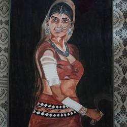 tribal beauties our indian culture, 3 x 5 inch, sravan hiremath,paintings,realistic paintings,canvas,acrylic color,3x5inch,GAL0504212057