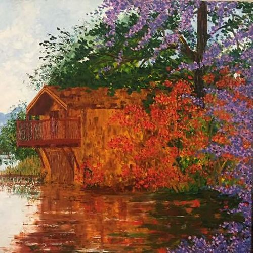 backwaters, 48 x 27 inch, shilpi singh patel,paintings,impressionist paintings,paintings for office,paintings for office,canvas,oil paint,48x27inch,GAL045512062