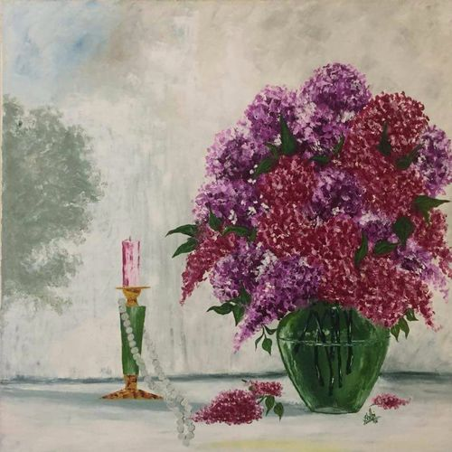 green pot, 24 x 26 inch, shilpi singh patel,paintings,flower paintings,impressionist paintings,paintings for bedroom,canvas,oil paint,24x26inch,GAL045512063