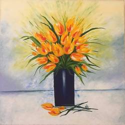 tulips, 24 x 26 inch, shilpi singh patel,paintings,flower paintings,impressionist paintings,paintings for living room,paintings for bedroom,paintings for office,paintings for hotel,canvas,oil paint,24x26inch,GAL045512065