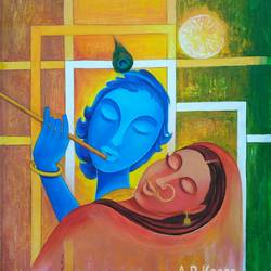radha and krishna, 19 x 24 inch, a.b.  kaser,figurative paintings,radha krishna paintings,contemporary paintings,paintings for living room,paintings for office,paintings for kids room,canvas,acrylic color,19x24inch,GAL063612067,lord,love,krishna,radha,radhakrishna,flute,love,music