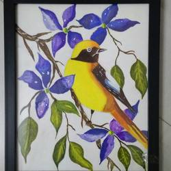 birds love flowers, 9 x 11 inch, sneha gupta,paintings,flower paintings,nature paintings,paintings for living room,paintings for living room,canvas,acrylic color,9x11inch,GAL0467312070Nature,environment,Beauty,scenery,greenery