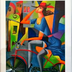 girl cycle city ride, 16 x 21 inch, sneha gupta,paintings,cityscape paintings,paintings for living room,paintings for hotel,paintings for living room,paintings for hotel,hardboard,watercolor,16x21inch,GAL0467312071