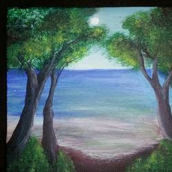 beach view, 8 x 8 inch, kiran singh,paintings,landscape paintings,paintings for living room,paintings for living room,canvas,acrylic color,8x8inch,GAL0220412073