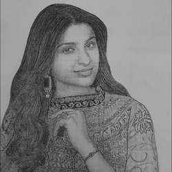 parineeti chopra, 12 x 12 inch, manish kumar,drawings,portrait drawings,paintings for living room,paper,pencil color,12x12inch,GAL0505212075
