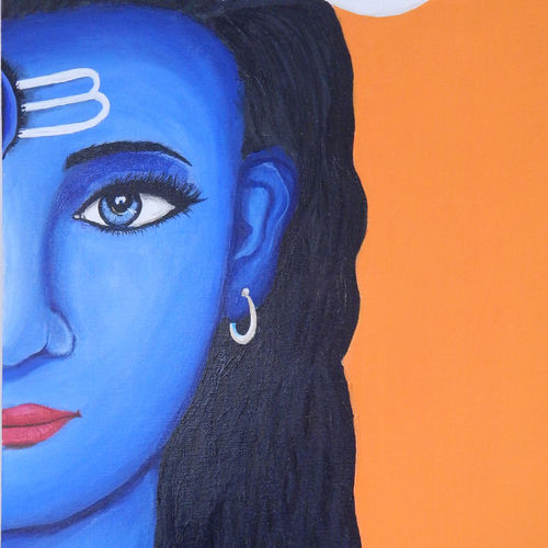 half faced lord shiva, 16 x 24 inch, pratik vaghela,abstract paintings,paintings for dining room,paintings for living room,paintings for bedroom,paintings for office,paintings for hotel,lord shiva paintings,canvas,acrylic color,16x24inch,GAL0427312079