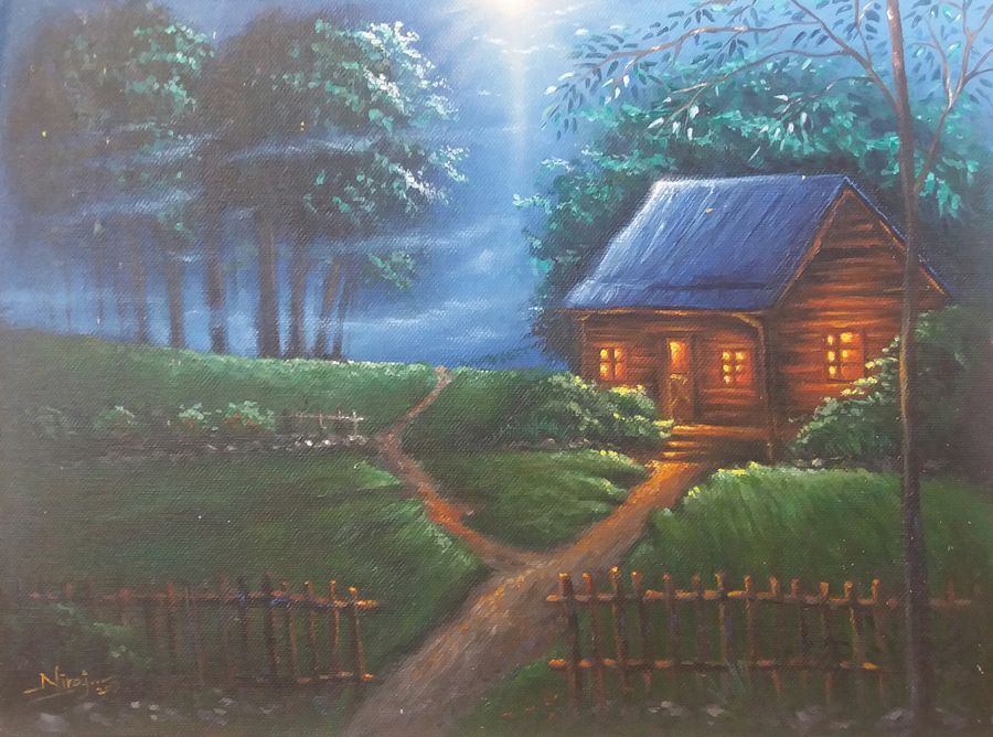 mystical moonlight , 9 x 12 inch, niraj pradhan,landscape paintings,paintings for living room,canvas,acrylic color,9x12inch,GAL04921208