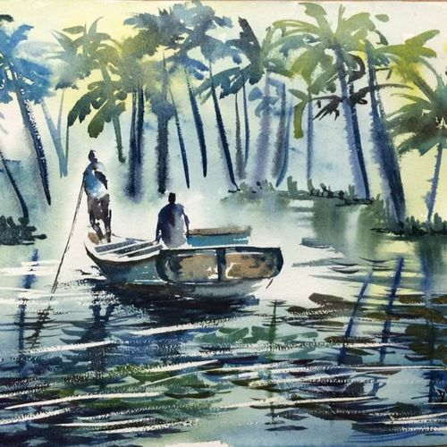 travelling on bot  , 21 x 14 inch, dipankar  biswas,landscape paintings,paintings for bedroom,paintings for bedroom,handmade paper,watercolor,21x14inch,GAL0293212080