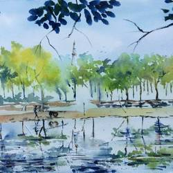reflections - i, 22 x 15 inch, dipankar  biswas,landscape paintings,paintings for bedroom,handmade paper,watercolor,22x15inch,GAL0293212081
