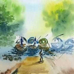 river side bot , 8 x 11 inch, dipankar  biswas,landscape paintings,paintings for living room,handmade paper,watercolor,8x11inch,GAL0293212083